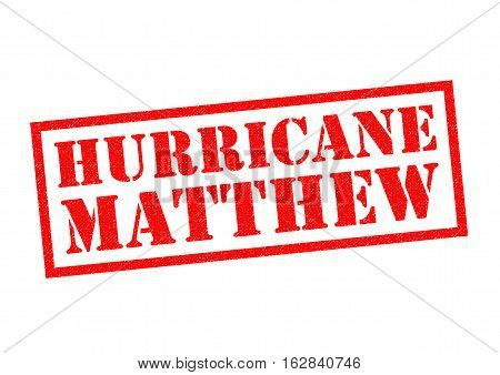 HURRICANE MATTHEW red Rubber Stamp over a white background.
