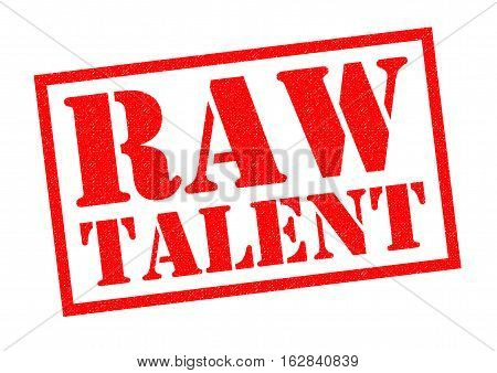 RAW TALENT red Rubber Stamp over a white background.