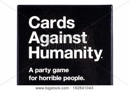 LONDON UK - OCTOBER 21ST 2016: A close-up shot of the packaging to the Cards Against Humanity party game (UK Edition) on 21st October 2016.