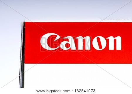 LONDON UK - OCTOBER 21ST 2016: A close-up shot of the Canon company logo on the packaging of one of their products on 21st October 2016. The multinational corporation specialize in imaging and optical products.