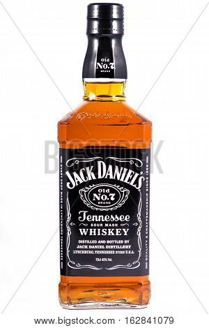 LONDON UK - OCTOBER 21ST 2016: A bottle of Jack Daniels Tennessee Whiskey over a plain white background on 21st October 2016.