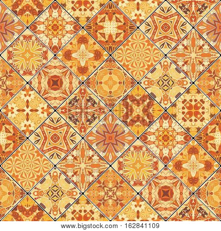 Collection of orange abstract patterns in the mosaic set. Square scraps in oriental style. Vector illustration. Ideal for printing on fabric or paper.