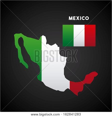 mexico flag on country map icon over black background. colorful desing. vector illustration