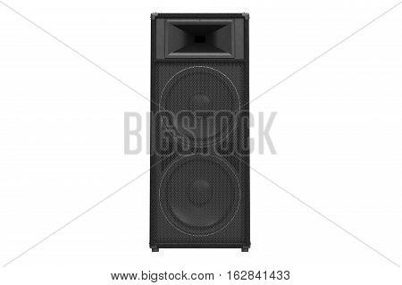 Speaker audio loud system black modern, front view. 3D rendering