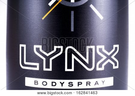 LONDON UK - OCTOBER 13TH 2016: A close-up shot of the Lynx bodyspray brand Logo on 13th October 2016. The Lynx product brand is owned and produced by the Unilever company.