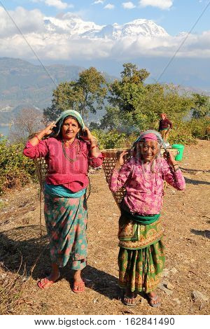 POKHARA, NEPAL - JANUARY 5, 2015: Two Nepalese women carrying a basket on their back near Pokhara with the Himalaya mountains in the background