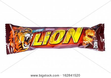 LONDON UK - OCTOBER 13TH 2016: An unopened Lion chocolate bar manufactured by Nestle pictured over a plain white background on 13th October 2016.