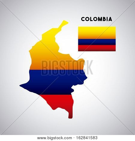colombia country map with colors of the flag over white background. colorful design. vector illustration