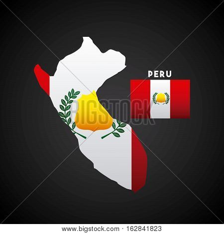 peru country map with colors of the flag. colorful design. vector illustration