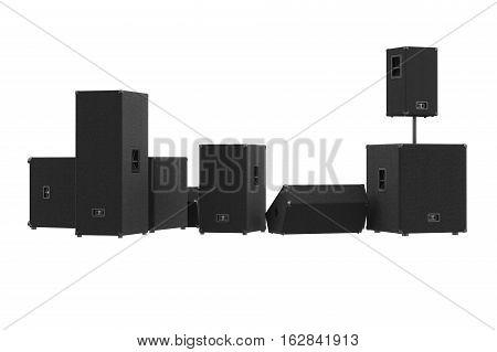 Speakers audio loud equipment black box. 3D rendering, back view