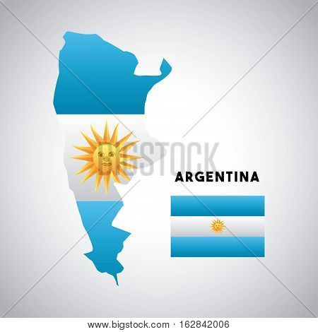 argentina country map with colors of the flag. colorful design. vector illustration