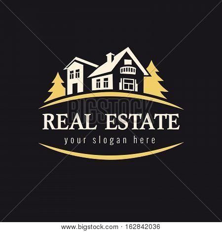 Luxury sign for real estate agency, building, lease house, insurance, invest or landscape design business. Real estate golden forest logo. Country house vector vintage symbol