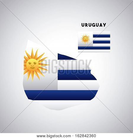 uruguay country map with colors of the flag. colorful design. vector illustration