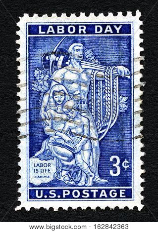 UNITED STATES OF AMERICA - CIRCA 1956: A used postage stamp printed in America celebrating Labor Day circa 1956.