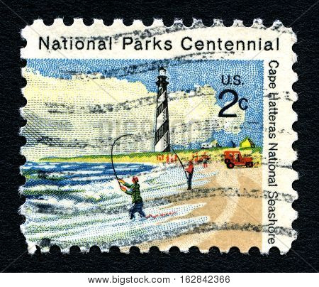 UNITED STATES OF AMERICA - CIRCA 1972: A used postage stamp printed in America commemorating the National Parks Centennial celebration circa 1972.