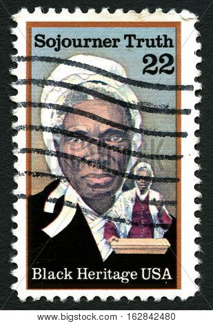 UNITED STATES OF AMERICA - CIRCA 1986: A used postage stamp from the United States of America dedicated to abolitionist Sijourner Truth circa 1986.