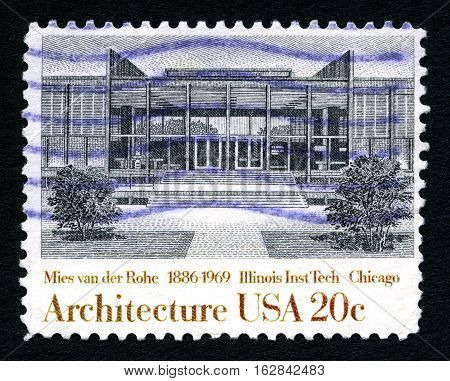 UNITED STATES OF AMERICA - CIRCA 1982: A used postage stamp from the United States of America dedicated to architect Mies van der Rohe - the architect of Illinois Institute of Technology circa 1982.