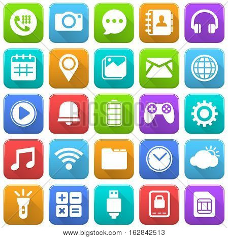 Vector Illustration of Mobile Icons. Best for Mobile, Application Development, Internet concept.