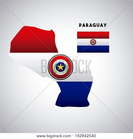 paraguay country map with colors of the flag. colorful design. vector illustration