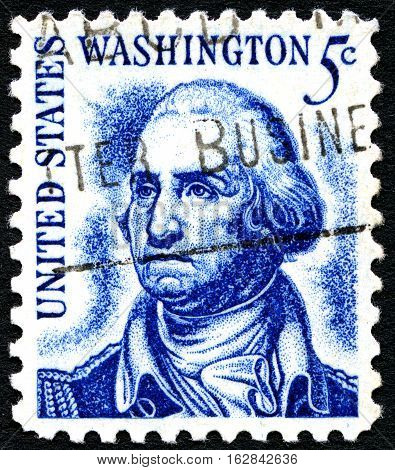 UNITED STATES OF AMERICA - CIRCA 1966: A used postage stamp from the United States of America dedicated to former president George Washington circa 1966.