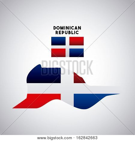 dominican republic country map with colors of the flag. colorful design. vector illustration