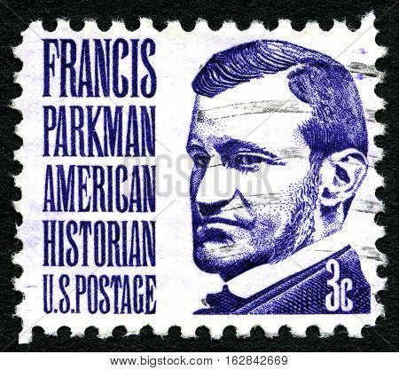 UNITED STATES OF AMERICA - CIRCA 1967: A used postage stamp depicting an image of famous Historian and leading Horticulturist Francis Parkman (1823-1893) printed in America circa 1967.