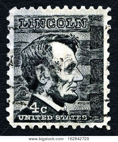 UNITED STATES OF AMERICA - CIRCA 1965: A used postage stamp printed in the USA depicting an illustration of 16th President of the United States Abraham Lincoln (1809-1865) circa 1965.