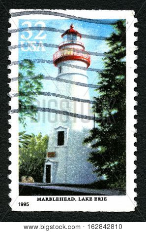 UNITED STATES - CIRCA 1995: A stamp printed by the United states shows Marblehead lighthouse at Lake Erie circa 1995.