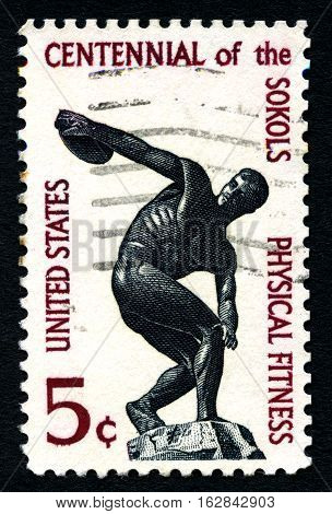 UNITED STATES OF AMERICA - 1ST MARCH 2016: A used postage stamp (circa 1965) illustrating Physcial Fitness and the 100th Anniversary of the Sokol Movement circa 1965.
