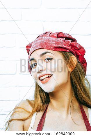 Flirting Girl Messy With Flour