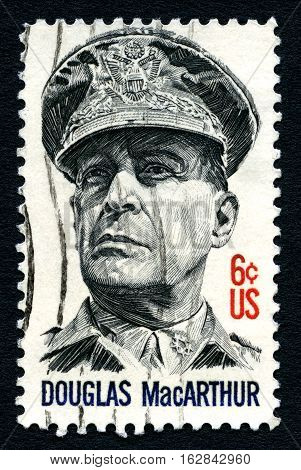UNITED STATES OF AMERICA - 1ST MARCH 2016: A used postage stamp from America portraying an image of historic American five-star General Douglas MacArthur circa 1971.