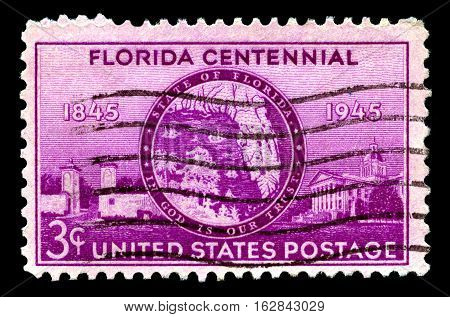 UNITED STATES OF AMERICA - CIRCA 1945: A used postage stamp from the United States of America celebrating the Florida Centennial circa 1945.