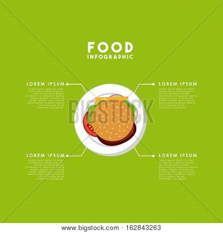 infographic presentation of food with hamburger icon. colorful design. vector illustration