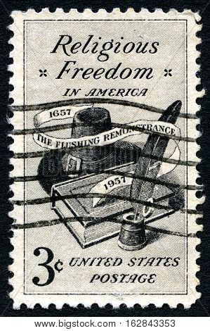 UNITED STATES OF AMERICA - CIRCA 1957: A used postage stamp celebrating Religious Freedom in America circa 1957.
