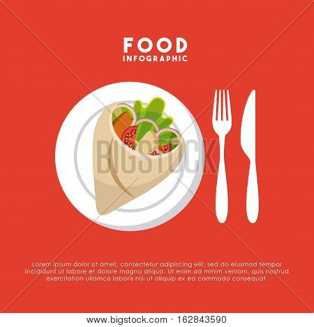 infographic presentation of food with wrap and cutlery icons. colorful design. vector illustration