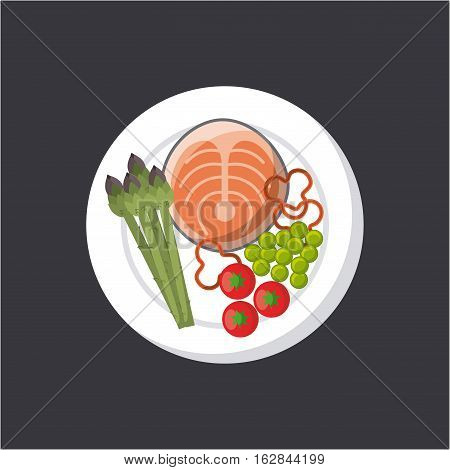 plate with steak of fish with vegetables icon over gray background. colorful design. vector illustration