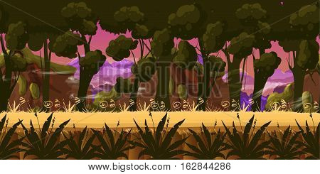 Mystery Dark Forest Background for games apps or mobile development.Cartoon nature landscape. Night forest . illustration for your design