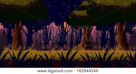 Mystery Dark Forest Background for games apps or mobile development.Cartoon nature landscape. Night forest . illustration for your design