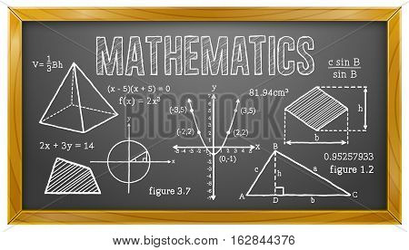Vector Illustration of Mathematics Subject on Blackboard. Best for Education, Learning, Mathematics, Algebra, Geometry, Trigonometry.