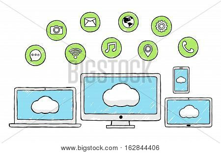 Vector Illustration of Social Technology Elements. Best for Internet, Mobile, Social Media, Technology concept.