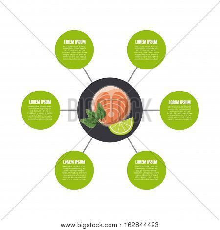 infographic presentation of food with fish and lemon icon. colorful design. vector illustration