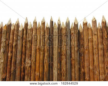 wooden paling isolated on the white background