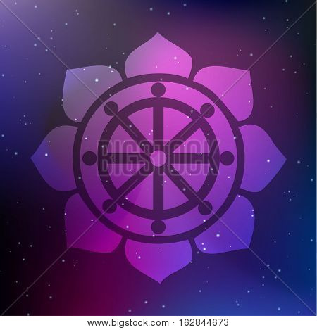 Vector Dharma Wheel in Lotus Flower on a Cosmic Background