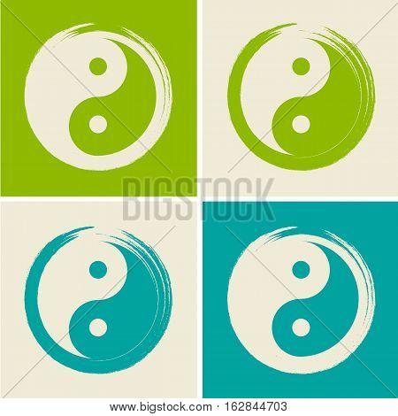 Vector Yin Yang in a Zen Circle Illustration Set