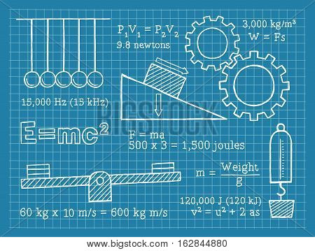 Vector Illustration of Physics Elements. Best for Physics, Science, Education, Research, Technology, Concept.