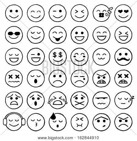 Vector Illustration of Smiley Icons. Best for Expressions, Mobile, Internet, Design Element concept.