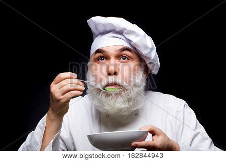 Man Cook Tastes Food
