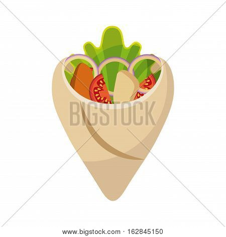 wrap with vegetables icon over white background. colorful concept. fast food design. vector illustration
