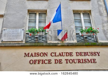 Saint Germain en Laye France - june 12 2016 : the house of Claude Debussy tourism office