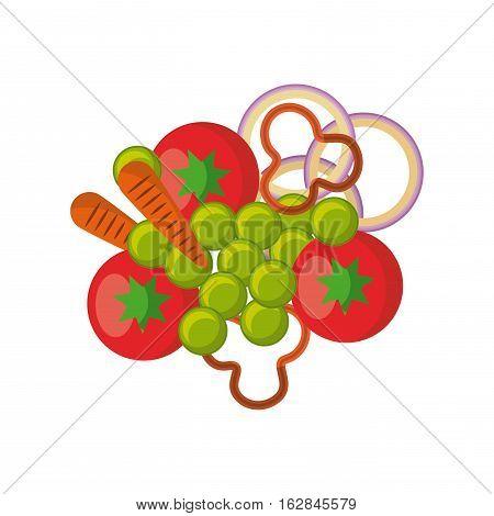 vegetables salad icon over white background. colorful design. vector illustration
